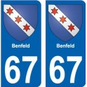 67 Benfeld autocollant plaque immatriculation auto ville sticker