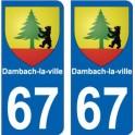 67 Dambach-la-ville autocollant plaque immatriculation auto ville sticker
