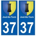 37 Jouès-les-Tours blason autocollant plaque stickers ville