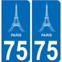 75 Paris eiffel autocollant plaque immatriculation auto ville sticker
