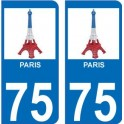75 Paris eiffel bleu blanc rouge autocollant plaque immatriculation auto ville sticker