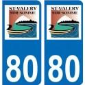 80 Saint Valery sur Somme autocollant plaque immatriculation auto ville sticker