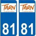 81 Tarn logo autocollant plaque immatriculation auto ville sticker