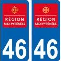 46 Lot région Midi Pyrénées sticker autocollant plaque immatriculation auto