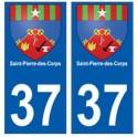 37 Saint-Pierre-des-Corps blason autocollant plaque stickers ville