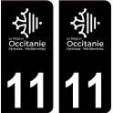 11 Occitanie nouveau logo noir autocollant plaque immatriculation auto ville sticker