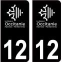 12 Occitanie nouveau logo noir autocollant plaque immatriculation auto ville sticker