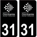 31 Occitanie nouveau logo noir autocollant plaque immatriculation auto ville sticker