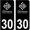 30 Occitanie nouveau logo noir autocollant plaque immatriculation auto ville sticker