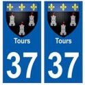 37 Tours blason autocollant plaque stickers ville