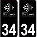 34 Occitanie nouveau logo noir autocollant plaque immatriculation auto ville sticker