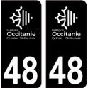 48 Occitanie nouveau logo noir autocollant plaque immatriculation auto ville sticker
