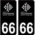 66 Occitanie nouveau logo noir autocollant plaque immatriculation auto ville sticker