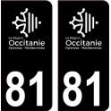 81 Occitanie nouveau logo noir autocollant plaque immatriculation auto ville sticker