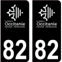 82 Occitanie nouveau logo noir autocollant plaque immatriculation auto ville sticker