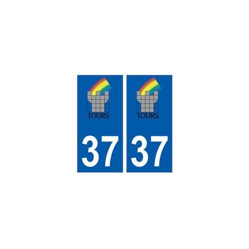 37 tours logo autocollant plaque immatriculation stickers ville. Black Bedroom Furniture Sets. Home Design Ideas