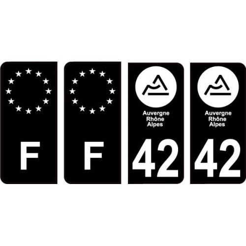 Autocollant plaque immatriculation voiture dpt 42 Loire