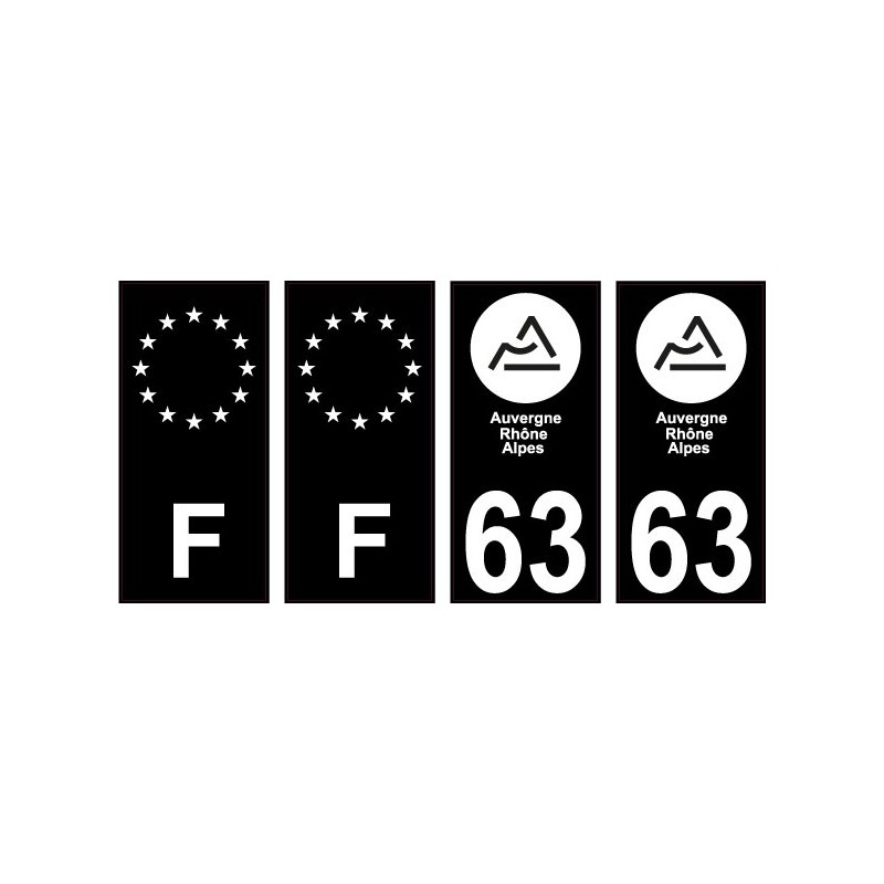 69 Rh/ône nouveau logo Noir autocollant plaque immatriculation auto ville sticker Lot de 4 Stickers Angles arrondis