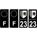 23 Creuse noir autocollant plaque immatriculation auto sticker Lot de 4 Stickers