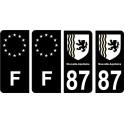 87 Haute Vienne noir autocollant plaque immatriculation auto sticker Lot de 4 Stickers