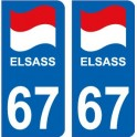 67 EL Elsass Alsace drapeau logo 363 sticker autocollant plaque immatriculation auto