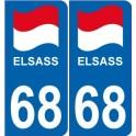 68 El Elsass Alsace drapeau logo 364 sticker autocollant plaque immatriculation auto