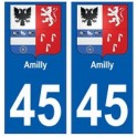 45 Amilly blason autocollant plaque stickers ville