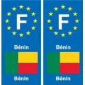 F Europe Bénin Benin 2 autocollant plaque