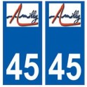 45 Amilly logo autocollant plaque stickers ville