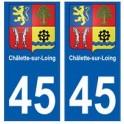 45 Châlette-sur-Loing blason autocollant plaque stickers ville