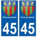 45 Fleury-les-Aubrais blason autocollant plaque stickers ville