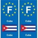 F Europe Cuba 2 autocollant plaque