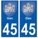 45 Gien blason autocollant plaque stickers ville