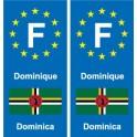 F Europe Dominique Dominica 2 autocollant plaque