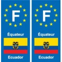 F Europe Équateur Ecuador 2 autocollant plaque