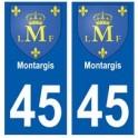 45 Montargis blason autocollant plaque stickers ville