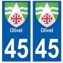 45 Olivet blason autocollant plaque stickers ville