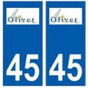 45 Olivet logo autocollant plaque stickers ville
