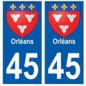 45 Orléans blason autocollant plaque stickers ville