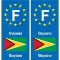 F Europe French Guiana Guyana sticker plate