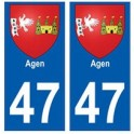 47 Agen coat of arms sticker plate stickers city