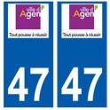 47 Agen logo autocollant plaque stickers ville