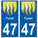47 Fumel blason autocollant plaque stickers ville