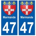 47 Marmande blason autocollant plaque stickers ville