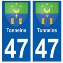 47 Tonneins blason autocollant plaque stickers ville