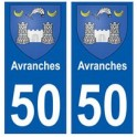 50 Avranches blason autocollant plaque stickers ville