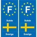 F Europe Suède Sweden autocollant plaque