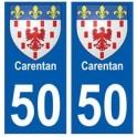 50 Carentan blason autocollant plaque stickers ville