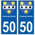 50 Cherbourg-Octeville blason autocollant plaque stickers ville