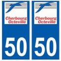 50 Cherbourg-Octeville logo autocollant plaque stickers ville